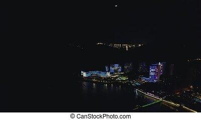 Night resort city - Night neon lighting of sea beach resort ...