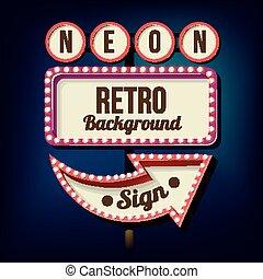 Night retro sign with lights