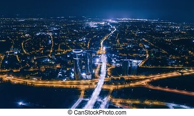 Night Riga Drone Timelapse City Bridge Viaduct road traffic machine Drone fast time cars in motion