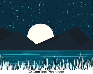 Night river landscape with a full moon. Midnight lake with moonlight. Vector illustration
