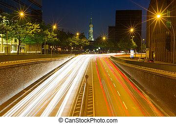 Night road in Hamburg