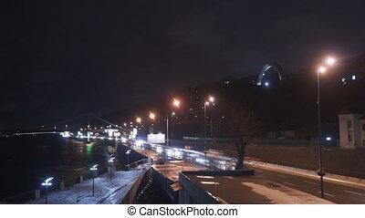 Night road light car move