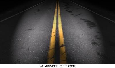 Night road loop, headlights - Night road lit by headlights -...