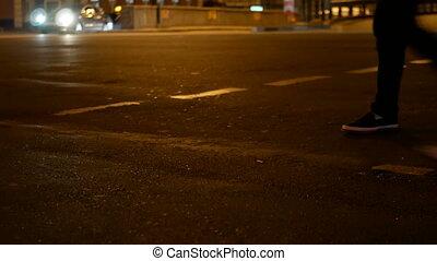 Night road street people
