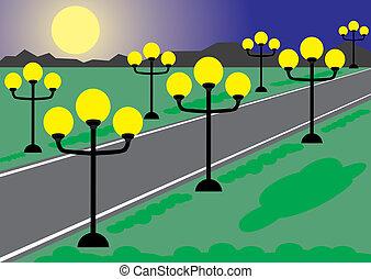 Night road. Street with lanterns
