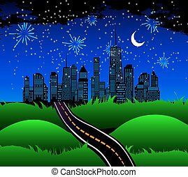 Night Road to the Town of Nature. Vector Illustration.