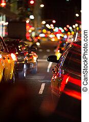 Night road traffic in a big city