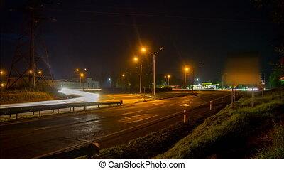 Night road traffic timelapse 4k