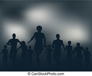 Editable vector silhouettes of people running at night