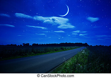 Rural road under the stars