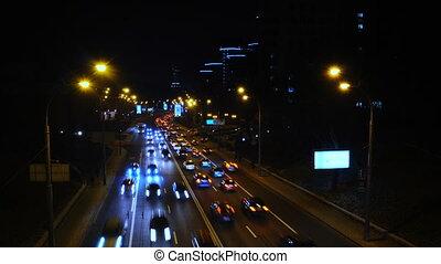 Night Rush Hour City Traffic, Avenue Time Lapse Scene, Kyiv, Ukraine Cityscape.