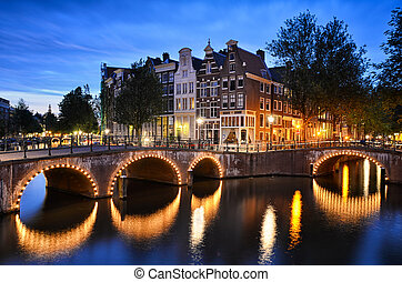 Night scene at a canal in Amsterdam - Night scene at a canal...