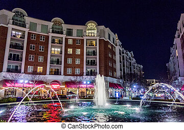 night scene at peadmont plaza charlotte nc