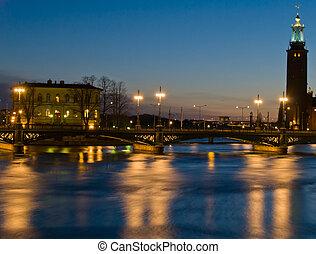 night scene at Stockholm