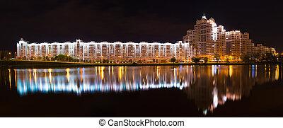 Night Scene Building In Minsk, Downtown (Nemiga) View With Svisloch River, Belarus