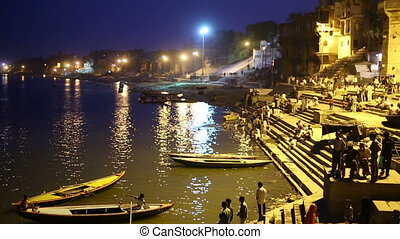Night scene in Varanasi - Night scene by Ganges River in...