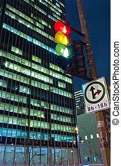 night scene - night cityscape scene with a skyscrapper and...