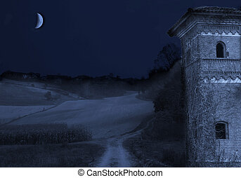 Night Scene - Night scene with castle, road and moon