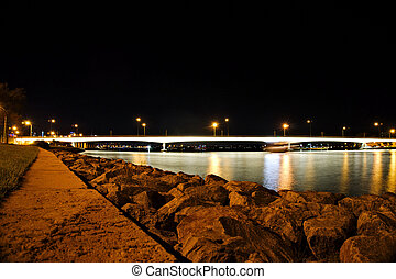 Night scene of a river in a city