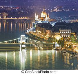night scene of Budapest city view, Hungary