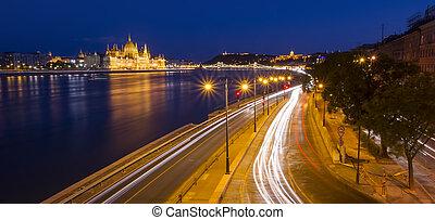 night scene of Budapest cityscape. Long exposure photo, Hungary