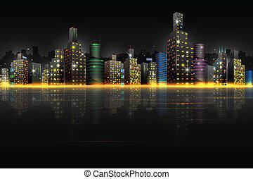 Night Scene of City - illustration of night scene of city...