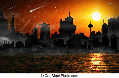 Night scene of city skyline