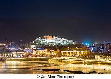 night scene of  lhasa city