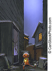 night scene of little robot left alone in dirty alley