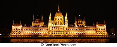 Night scene of Parliament in Budapest