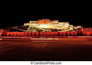 night scene of potala palace - night scene of potala palace,...