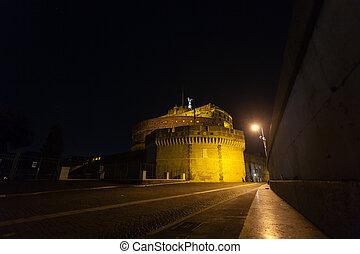 Night scene of Rome, Mausoleum of Hadrian. Italian landmark