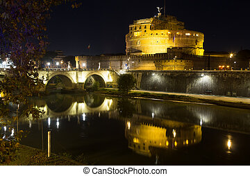 Night scene of Rome, Tevere river and Mausoleum of Hadrian. Italian landmark