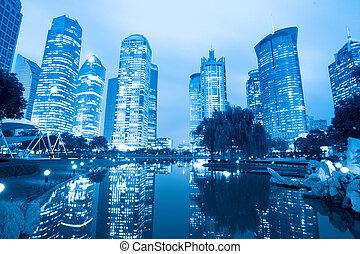 night scene of shanghai central greenbelt