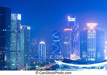 night scene of shenzhen city at lotus hill, China