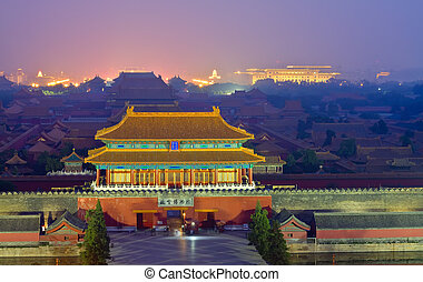 Night scene of the Forbidden City in the fog - Picture of...