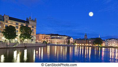 Night scene of the Stockholm City