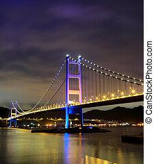 night scene of Tsing Ma bridge
