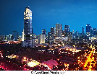 Night scene of urban life