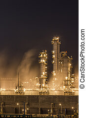 Water vapor from cooling tower in chemical plant