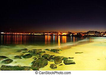 Night scene on portuguese beach