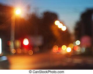 Night scene on the road