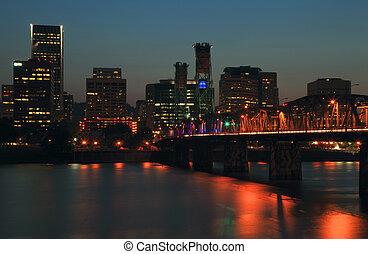 Night scene, Portland Oregon.