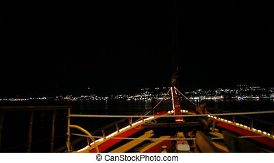 Night Scene Santorini boat, greece