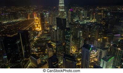 Night scene time lapse at Kuala Lumpur city centre