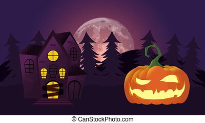 Night scene with a big castle of terror and scary pumpkin, animation