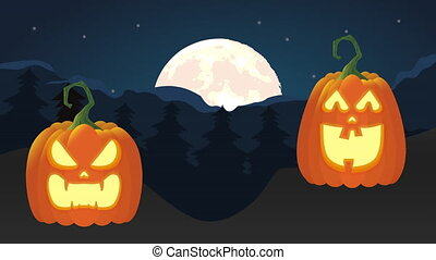 Night scene with a night of terror and scary pumpkins, animation