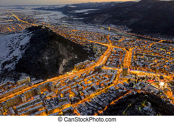 Night scene with city lights, aerial winter scene