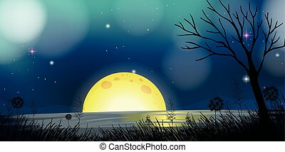 Night scene with moon and lake