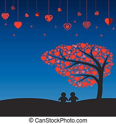 Night scene with Silhouette lovely couple under the tree of heart vector icon